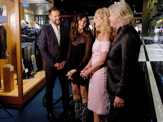 Jimi Westbrook, Karen Fairchild, Kimberly Schlapman and Philip Sweet of Little Big Town give an interview at the Country Music Hall of Fame and Museum on June 26, 2018, in Nashville.