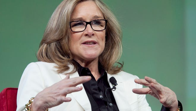 Burberry CEO Angela Ahrendts speaks at the National Retail Federation's annual convention in New York in January 2012.