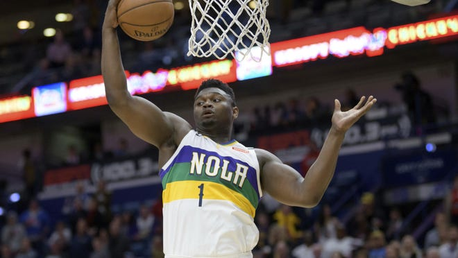 New Orleans forward Zion Williamson is averaging 23.6 points and 6.8 rebounds in 19 games this season for the Pelicans.