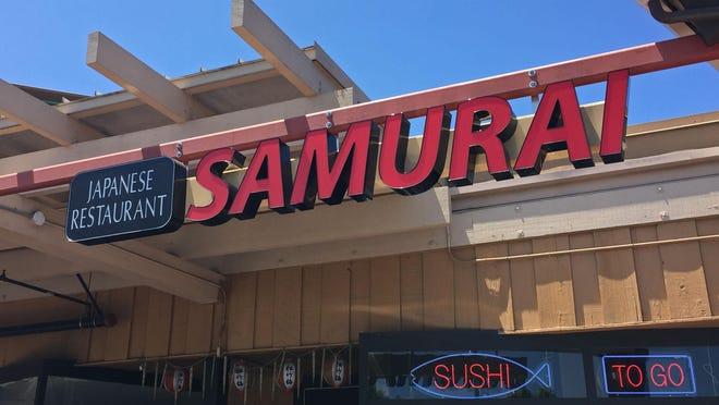 Front entrance to Samurai Japanese Restaurant on North Main Street, Salinas