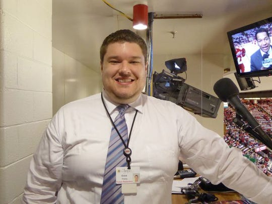 Joe Louis Arena public address announcer Erich Freiny.