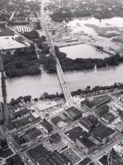 The Wabash River overflowed its bank on June 12, 1958.
