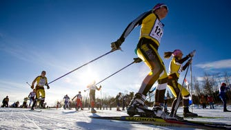 Skiers enjoy a beautiful sunshine morning for the start of the 37th American Birkebeiner in Cable WI Saturday February 27, 2010.  The annual ski race is held in Wisconsin's Northwoods and attracts thousands of skiers. Some of the Birkie trails are available for more recreational night skiers.