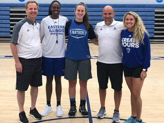 Abby Wahl (middle) poses with the Eastern Illinois