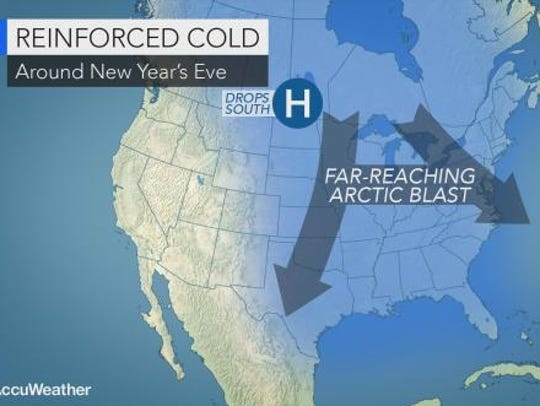 New Year's Eve is expected to be frigid in the Lower