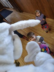 "The Easter Bunny says ""Hello"" to Xander Nelson of Eau"