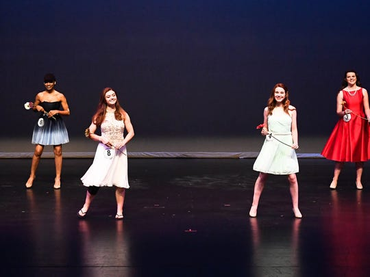 Participants in this years Distinguished Young Women program on stage at the Henderson Fine Arts Center during a rehearsal Thursday. The program will be held Saturday at 7 p.m. at the Henderson Fine Arts Center, August 25, 2016.