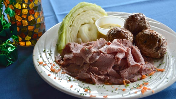 The corned beef and cabbage from Claddagh on the Shore, served with homemade mustard and slow roasted potatoes.