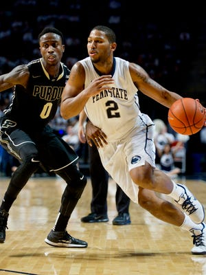 Penn State's D.J. Newbill (2) works off the dribble against Purdue's Jon Octeus on Saturday, Jan. 17, 2015, at the Bryce Jordan Center in State College, Pa. Purdue won in overtime, 84-77. (Abby Drey/Centre Daily Times/TNS)