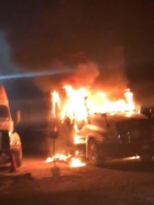 Truck fire in Scott