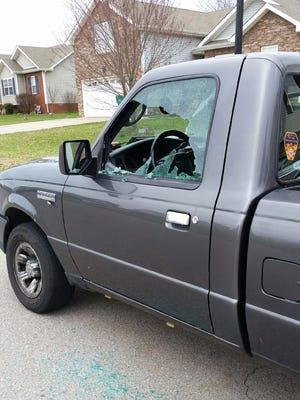 One of the vehicles with a window shot out by a BB guns.
