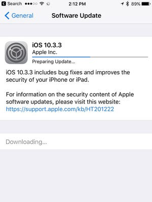 All iOS users should update to iOS version 10.3.3.