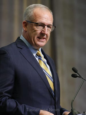 SEC Commissioner Greg Sankey speaks during SEC Media Days in the College Football Hall of Fame in Atlanta Monday, July 16, 2018.