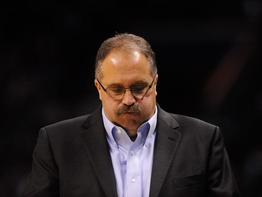 Dec 7, 2016; Charlotte, NC, USA; Pistons coach Stan Van Gundy looks on during the second half of an 87-77 loss to the Hornets at the Spectrum Center.