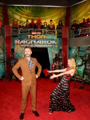 Actors Chris Hardwick (L) and Lydia Hearst at The World