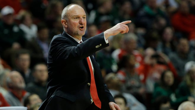Ohio State head coach Thad Matta yells to his team during their loss Michigan State in the quarterfinals of the Big Ten Conference tournament.