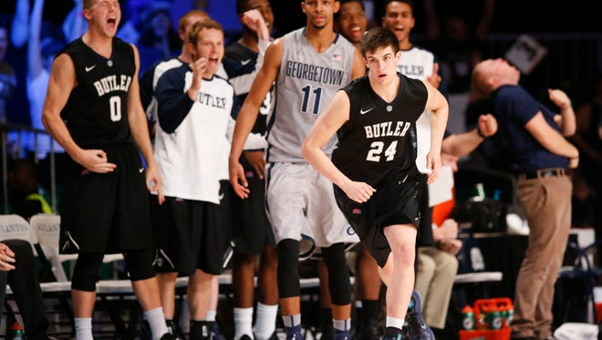 Butler Bulldogs guard Kellen Dunham (24) reacts after scoring during the game against the Georgetown Hoyas.