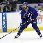 Tampa Bay Lightning right wing Ryan Callahan works out during media day Tuesday. A year ago Callahan was watching his old team, the Rangers, play in the Stanley Cup after the New York team traded when contract talks stalled.