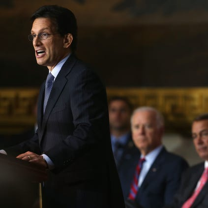 WASHINGTON, DC - JUNE 26: Outgoing House Majority Leader Eric Cantor (R-VA)(L) speaks while Israeli President Shimon Peres (R), House Speaker John Boehner (R-OH) (C),  U.S. Vice President Joseph Biden (2ndL) listen during a Congressional Gold Medal ceremony at the U.S. Capitol, June 26, 2014 in Washington, DC. President Peres was pressented with the Congressional Gold Medal which recognizes those who have performed an achievement that has an impact on American history and culture.  Photo by Mark Wilson/Getty Images)  (Photo by Mark Wilson/Getty Images)