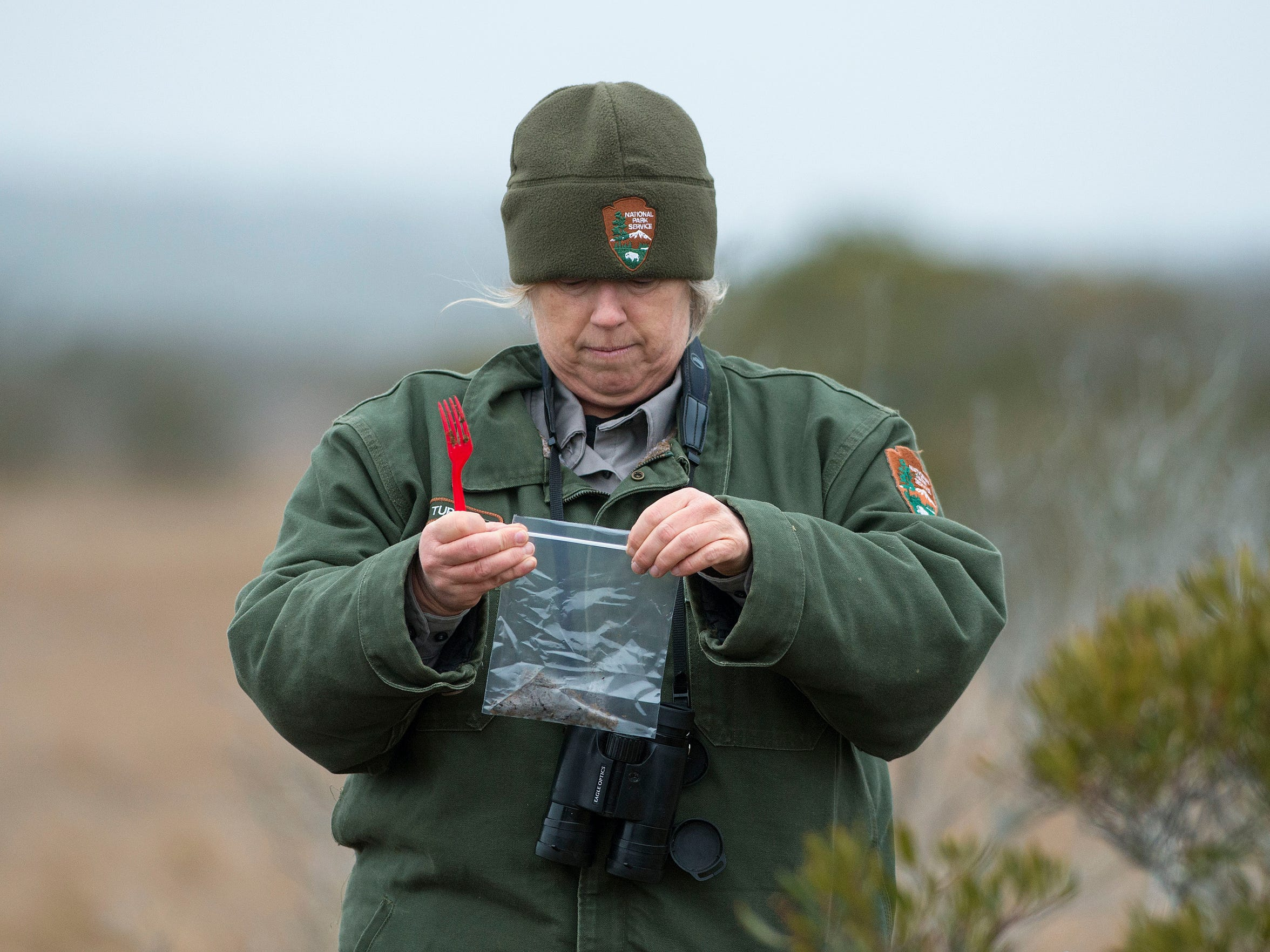 Allison Turner bags a sample of horse manure at Assateague