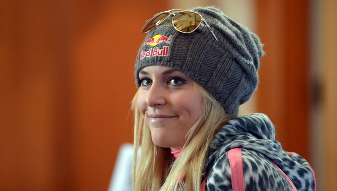 Nov 8, 2013; Vail, CO, USA; Lindsey Vonn (USA) speaks at a press conference following team training at Vail. Mandatory Credit: Paul Bussi-USA TODAY Sports
