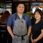 Chris Chern, owner and chef at Umami Restaurant and Sushi Bar in Melbourne, grew up working in his parents' Chinese restaurant. Now his mother Lian Chen helps out at his place.
