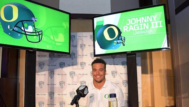 Jul 14, 2016; Hollywood, CA, USA; Oregon Ducks linebacker Johnny Ragin III during Pac-12 media day at Hollywood & Highland. Mandatory Credit: Kirby Lee-USA TODAY Sports