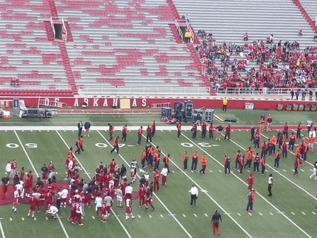 Auburn and Arkansas players were on the field at the same time before game.