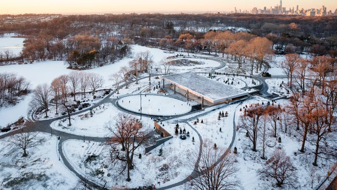 An aerial view of the LeFrak Center at Lakeside in Prospect Park, Brooklyn. The skating rink was designed by Tod Williams Billie Tsien Architects and completed in 2013.
