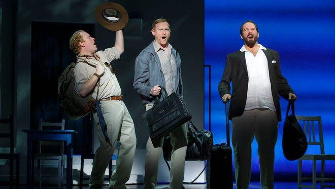 "Chad W. Fornwalt (Sam), left, Ryan M. Hunt (Bill), and Andrew Tebo (Harry) in the 2015 North American tour of ""Mamma Mia!"" The farewell tour runs through May 1 at TPAC."
