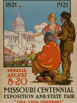 The official poster of the Missouri Centennial Exposition and State Fair, created by Vinnorma Shaw in 1921