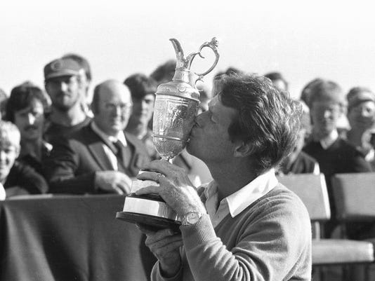 FILE- In this July 18, 1982, file photo, Tom Watson kisses the Claret Jug after winning the British Open Golf Championship at Royal Troon in Ayrshire, Scotland. The British Open is scheduled for July 14–17, 2016, at Royal Troon Golf Club in Ayrshire, Scotland. (AP Photo/File)