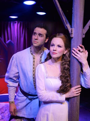 "Jeremiah James as Lancelot du Loc, and Jennifer Hope Wills as Queen Guenevere in Westchester Broadway Theatre's production of ""Camelot."""