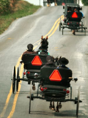 Amish buggies can be seen on roads in York and Lancaster counties.