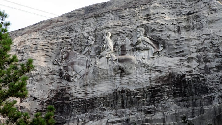 The Confederate Memorial at Stone Mountain, Ga., depicts