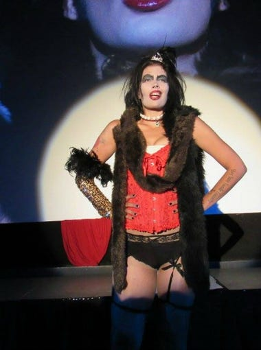 """Christina Beatty starred as Dr. Frank-N-Furter in a """"Rocky Horror Picture Show"""" production by K.A.O.S. in California."""