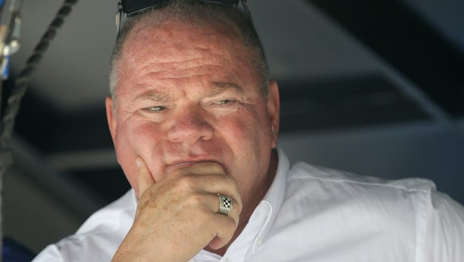 Team owner Chip Ganassi looks on from his pit box during practice for the Indianapolis 500 Friday, May 19, 2017, afternoon at the Indianapolis Motor Speedway.