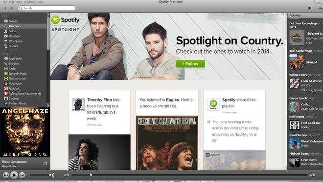 Music service Spotify mixes recommendations from friends and your listening habits.