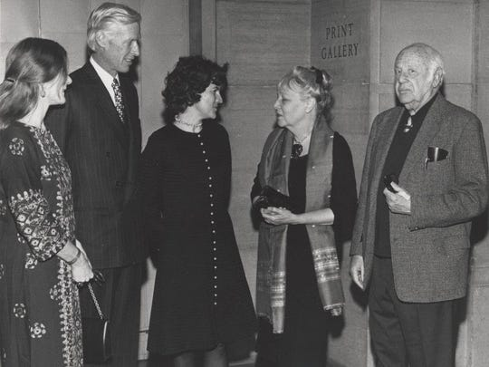 Paul Strand (above, left) with an unidentified woman waiting for him to sign her book in 1971. Strand (above, right) and his wife, Hazel, are on the far right with former Philadelphia Museum of Art president George Cheston and two unidentified women.