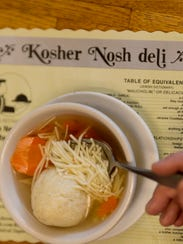 Matza ball soup. The Kosher Nosh in Glen Rock. Esther