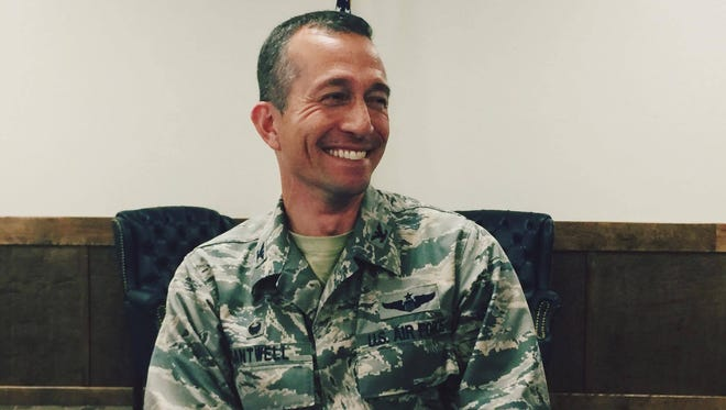 Col. Houston R. Cantwell is the new commander of Hollman's 49th Wing. Cantwell discussed his future with Holloman Tuesday morning at Holloman Air Force Base.