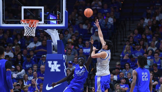 UK forward Tai Wynyard shoots during the University of Kentucky mens basketball Blue-White scrimmage in Lexington, Kentucky, on Friday, Oct. 20, 2017.