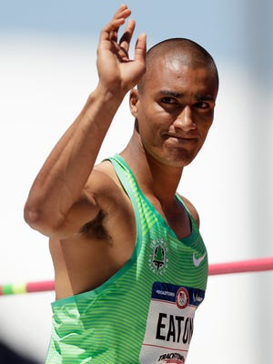 Ashton Eaton waves after the decathlon high jump event at the U.S. Olympic Track and Field Trials, Saturday, July 2, 2016, in Eugene Ore. (AP Photo/Matt Slocum)
