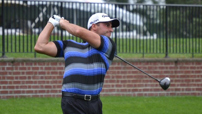 Haverstraw resident Chris Scialo tees off in the second round of the New York State Open at Bethpage State Park's Black Course. He came in with a 1-under 70 Wednesday and is heading into the final round six shots off the lead at 4-under 138.
