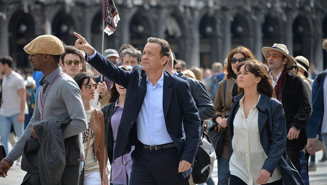 Tom Hanks and Felicity Jones in 'Inferno' at San Marco Square in Venice, Italy.