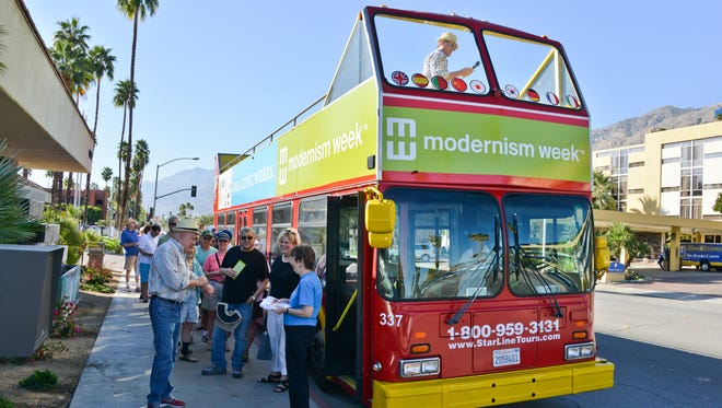 Bus tour loading during Modernism Week.
