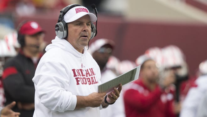 Kevin Wilson, Head Coach of Indiana, Penn State at Indiana Football, Memorial Stadium, Bloomington, Saturday, Nov. 8, 2014. Penn State won 13-7.