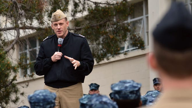 Vice Adm. Michael Rogers speaks to students and staff at the Center for Information Dominance in Monterey, Calif.
