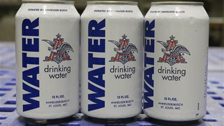 Cans of emergency drinking water produced at the Anheuser-Busch