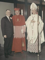 From left: Dr. John C. Cunningham, Richard Cardinal Cushing, archbishop of the Archdiocese of Boston and the Most Rev. Robert F. Joyce, bishop of Diocese of Burlington, in 1966 when The Catholic Center was dedicated at UVM.